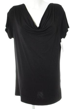 Friendtex Camisa de cuello barco negro look casual