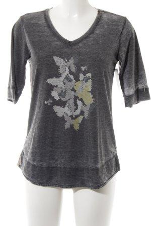 Friendtex V-Ausschnitt-Shirt anthrazit platzierter Druck Casual-Look