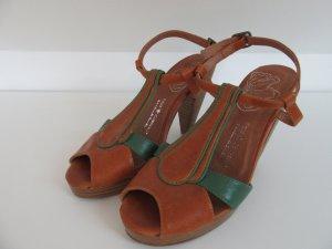 Friis & Company Platform Sandals cognac-coloured-forest green imitation leather