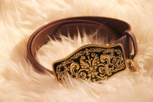 Friis & Company Belt brown-gold-colored imitation leather