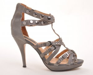 Friis & Company High Heels Pumps KRISTEL Glam-Rock Leder grau Gr. 41
