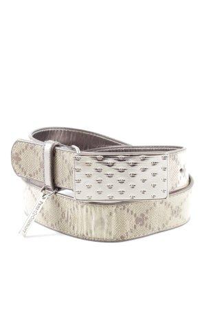 Friis & Company Cintura in ecopelle bianco sporco-marrone stampa integrale