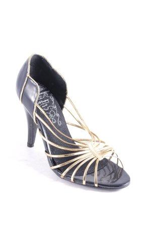 Friis & Company Riemchenpumps schwarz-goldfarben klassischer Stil