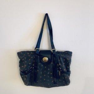 Friis & Company Schultertasche mit Lilienmuster grau-schwarz