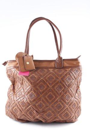 Friis & Company Shopper cognac-braun abstraktes Muster Bleached-Optik