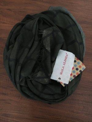 Mala Alisha Bufanda de cachemir negro-gris verdoso Cachemir