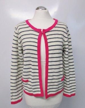 Frischer Strick Cardigan Jacke Cape Gina Benotti Größe 42 44 Wollweiß Blau Pink Streifen Maritim