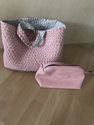 Fritzi aus preußen Borsa con manico grigio chiaro-rosa Materiale di riciclaggio