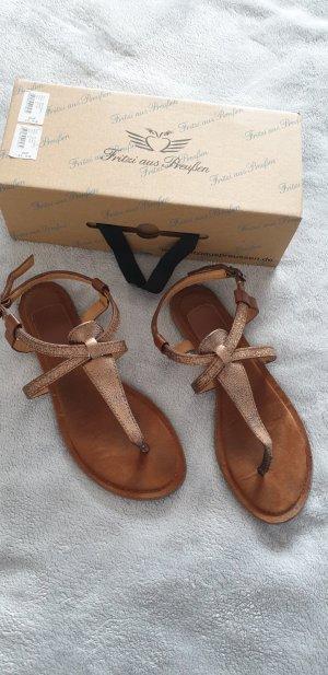 Fritzi aus preußen High-Heeled Toe-Post Sandals bronze-colored-brown