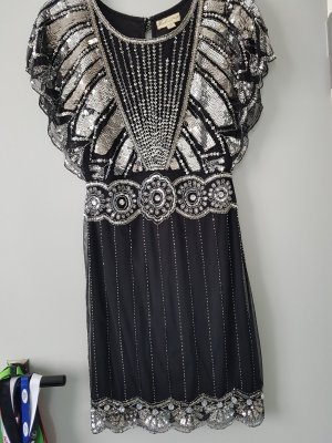 Frock and Frill Sequin Dress black-silver-colored