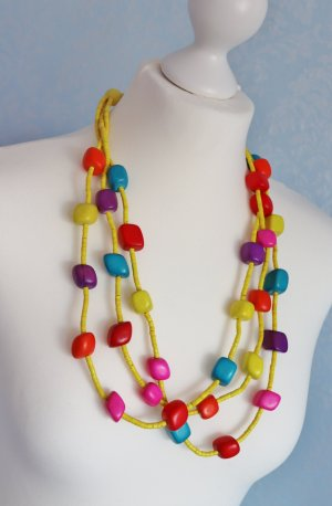 Statement Necklace multicolored wood