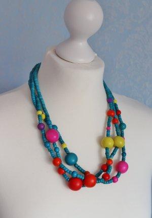 Fröhlich Bunte Halskette Schmuck aus Holz Perlen Türkis Gelb Pink Rot Statement Boho Hippie Ibiza Perlenkette