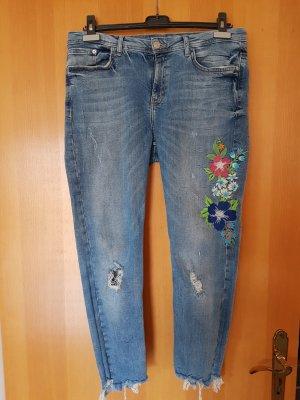 Zara Jeans slim bleu azur