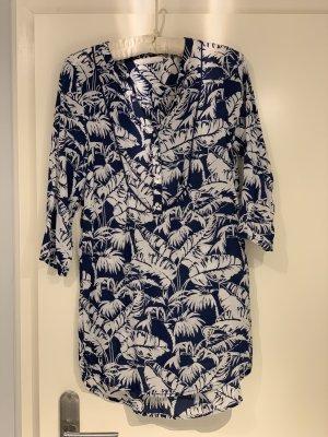 H&M Tunique-blouse blanc-bleu foncé