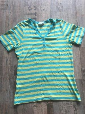 Brookshire Gestreept shirt geel-turkoois