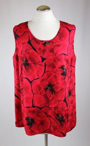 Fröhliches Top Größe 44 Shirt Bluse Mohn Muster Rot Schwarz Blüten Blumen Sommertop