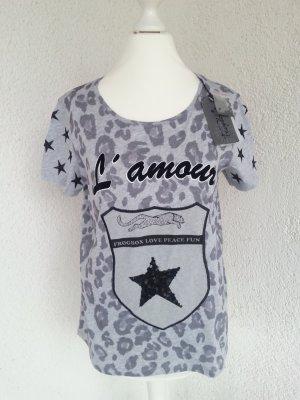 Frogbox cooles Shirt grau/schwarz m.Pailetten Gr.XS/34 neu