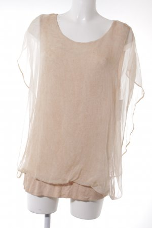 Frogbox Kurzarm-Bluse apricot-nude Casual-Look
