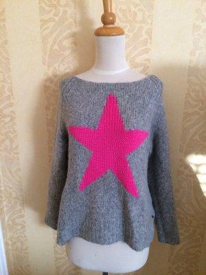 Frogbox Pullover Grau mit Stern in Pink, Gr.36/38