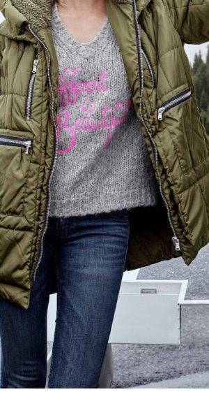 Frogbox Jersey con cuello de pico gris claro-rosa neón