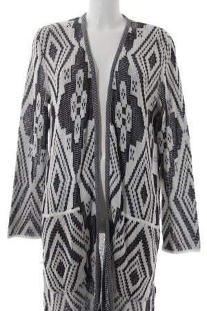 Frogbox Knitted Coat black-natural white Aztec pattern Boho look