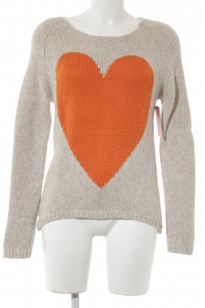 Frogbox Strickpullover beige-orange Herzmuster Casual-Look