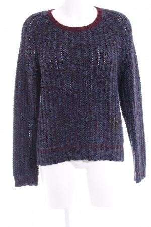Frogbox Strickpullover blau-bordeauxrot Casual-Look