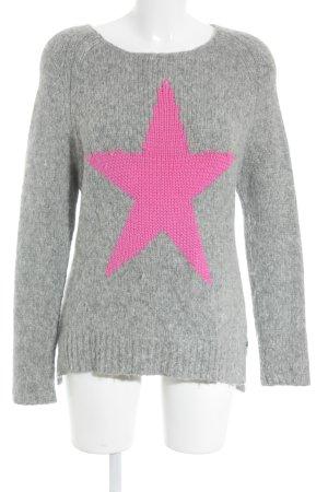 Frogbox Strickpullover grau-pink Motivdruck Casual-Look