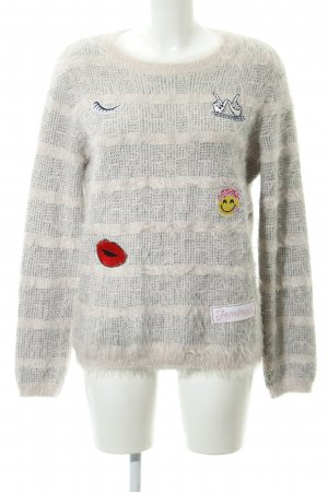 Frogbox Strickpullover hellgrau-rosé Glencheckmuster Casual-Look