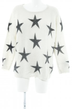 Frogbox Strickpullover wollweiß-anthrazit Sternenmuster Casual-Look