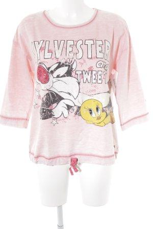 Frogbox Sweatshirt hellrosa Motivdruck Schmucksteinverzierung