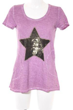 Frogbox T-Shirt blasslila-schwarz Sternenmuster Casual-Look