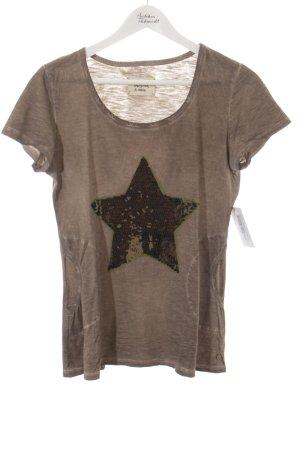 Frogbox T-Shirt graubraun-dunkelgrün Sternenmuster schlichter Stil