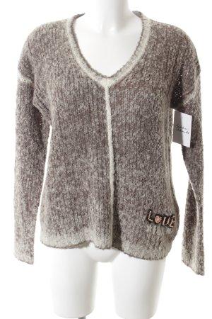 Frogbox V-Ausschnitt-Pullover graubraun-weiß Casual-Look