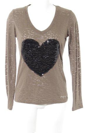 Frogbox V-Ausschnitt-Shirt Herzmuster Casual-Look