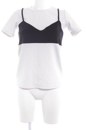 FRONT ROW SHOP T-Shirt hellgrau-schwarz Casual-Look