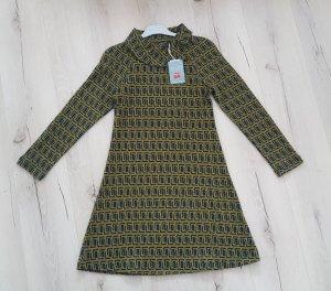 Vestido de tela de sudadera ocre-petróleo