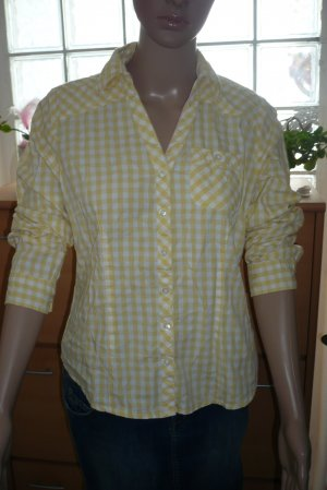 Frühlings Bluse gelb weiß kariert Größe M 38