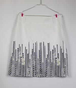 Frühlings Rock Leinen Offwhite sÒliver Größe M 38 Schwarz Beige Weiß Creme Pencil Skirt Streifen Punkte