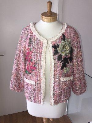 FRÜHLINGS-SALE!!! * Traumhaft schöner Tweed-Blazer * Bouclé-Blazer * im Chanel-Style * Karomuster * Metallfäden * Größe L * 38/40