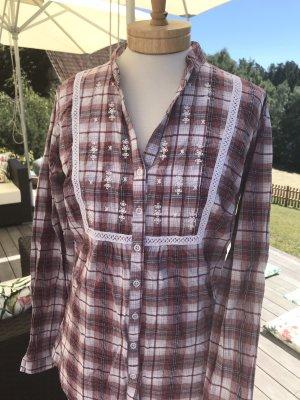 Anne L. Geruite blouse veelkleurig Katoen