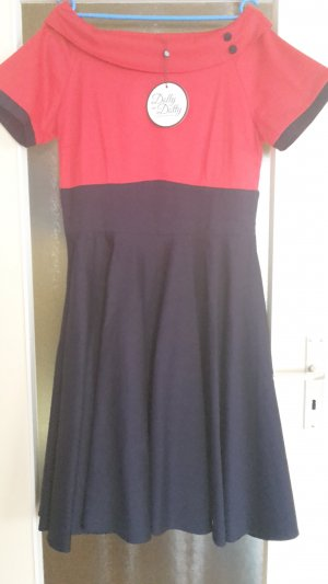 Midi Dress red-blue cotton