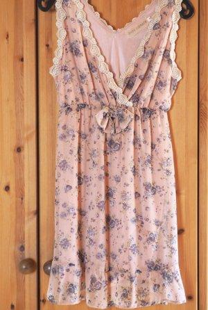 Frühlingshaftes Kleid, geblümt mit Schleife, Gr. 36