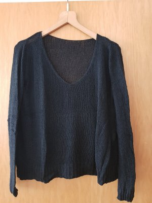 Brandy & Melville Coarse Knitted Sweater black cotton