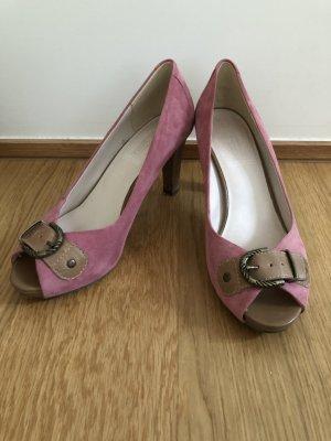 Tacones con punta abierta rosa-marrón claro