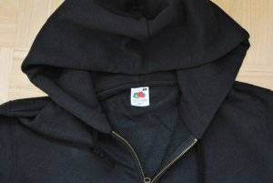 FRUIT OF THE LOOM - DAMEN SWEATJACKE MIT KAPUZE - schwarz - XL - NEU