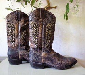 Frye Lederstiefel braun Nieten Cowboy stiefel Größe 12 / 42 Leder vintage Style
