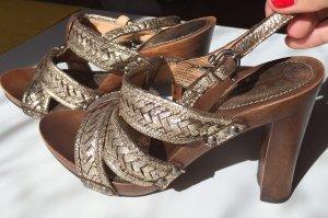 Frye Platform High-Heeled Sandal gold-colored-brown