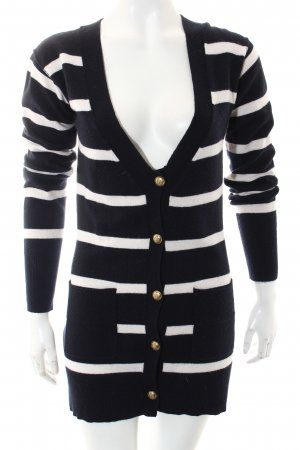 FTC Cashmere Cardigan dark blue-cream striped pattern casual look