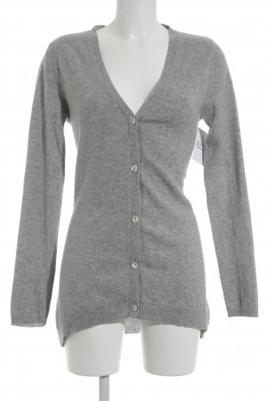 FTC Cashmere Cardigan hellgrau Business-Look